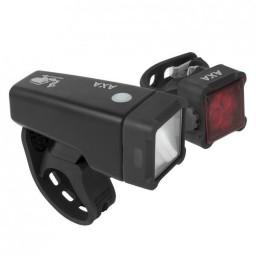 LICHTSET USB OPLAADBAAR - AXA NITELINE T4-R MET SPANRING WIT/ROOD